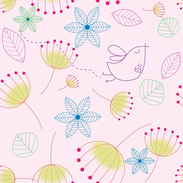 Floral, Background, Bird, Drawing, Design, Flowers