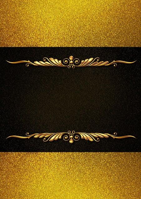 Background Image, Gold, Frame, Floral, Black, Structure