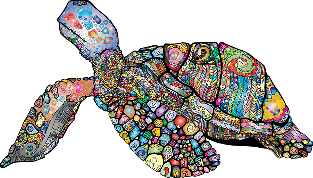 Sea Turtle, Animal, Floral, Chromatic, Colorful