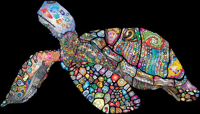 Sea Turtle, Animal, Floral, Chromatic, Colorful
