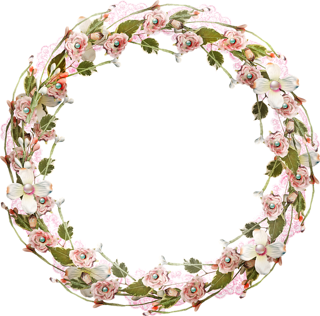 Floral Wreath, Lace, Vintage, Romantic, Design, Border
