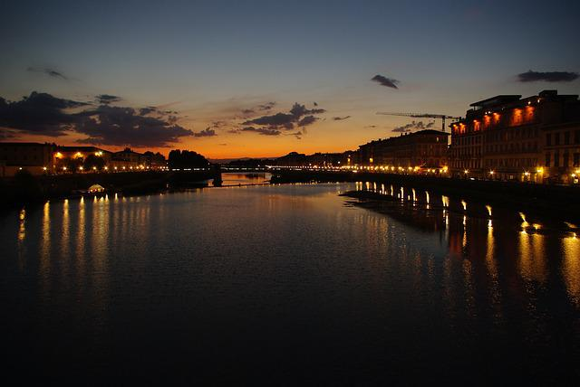 Tuscany, Florence, River Arno, Sunset, Bridge