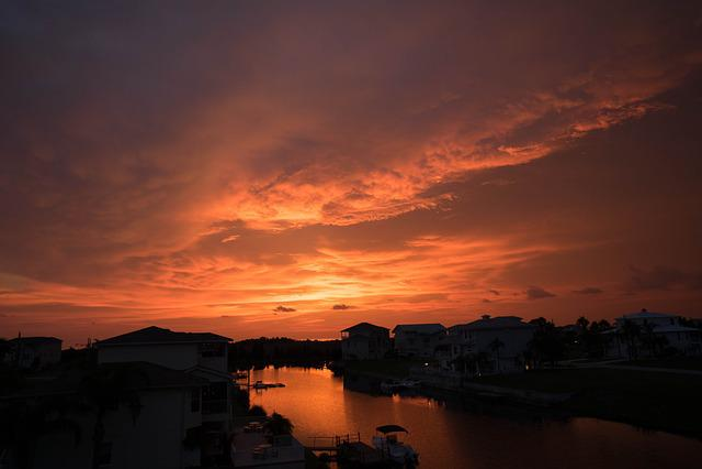 Sunset, Florida, Water, Sky, Skyline, Colorful