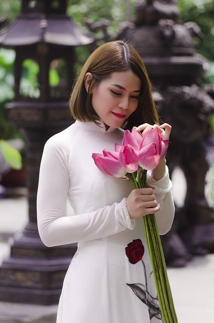 Women, Aodai, Flower, White, The Morning, Home Garden