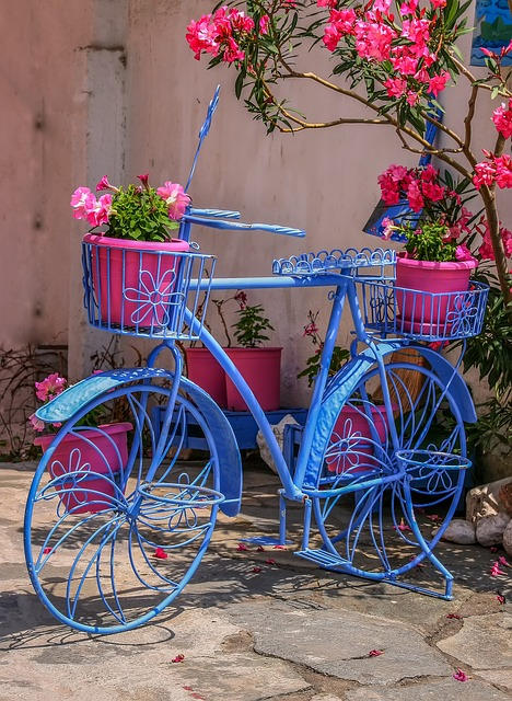 Flower, Basket, Bike, Colorful, Wheel, Summer, Greece