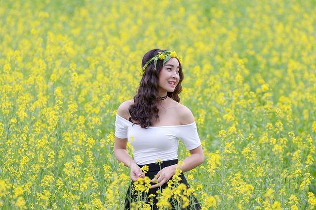 Portrait, Girl, Asia, Flower Reform, Gold