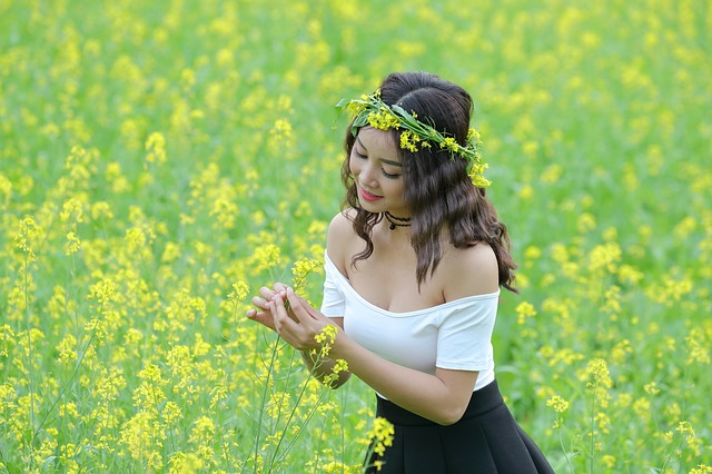 Portrait, Girl, Yellow, Flower Reform, Asia