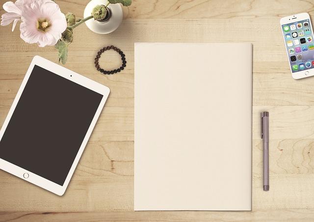 Paper, Tablet, Mobile Phone, Flower, Pen, Wooden Table