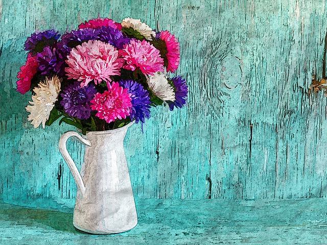 Flower Vase, Indoor, Colorful, Pink, White, Blue