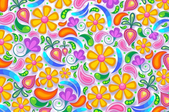 Floral, Paisley, Background, Flower, Lilac, White, Pink