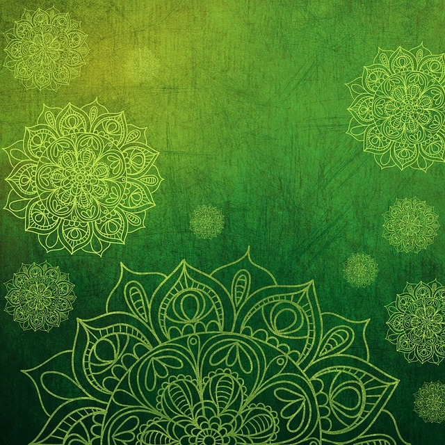Background, Texture, Green, Yellow, Flower, Mandala