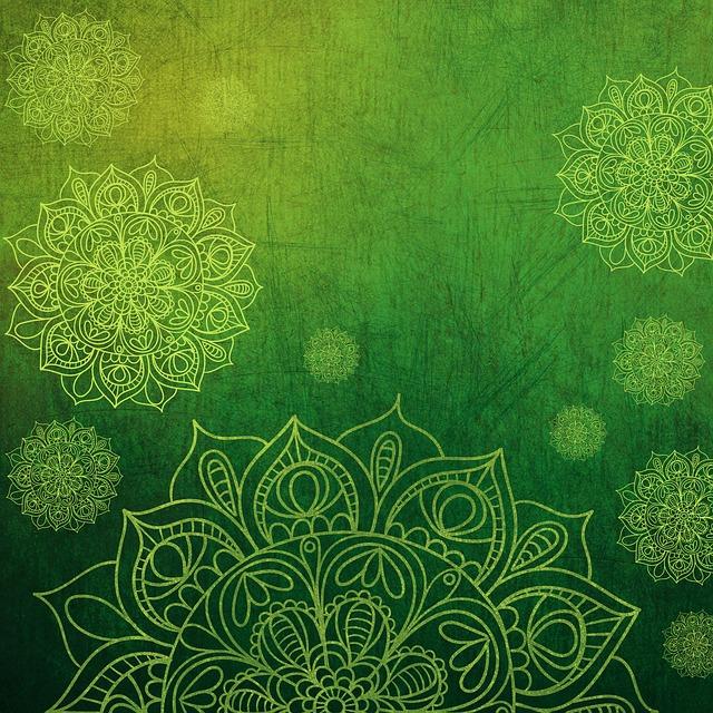Background, Texture, Green, Yellow, Flower, Mandala