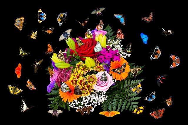 Emotions, Flowers, Butterflies, Bouquet, Flying, Wing