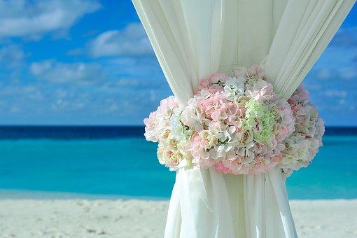 Beach, Curtain, Decorations, Flower Bouquet, Flowers