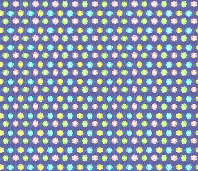 Deep Blue, Hemp Pattern, Flowers, Diamond, White