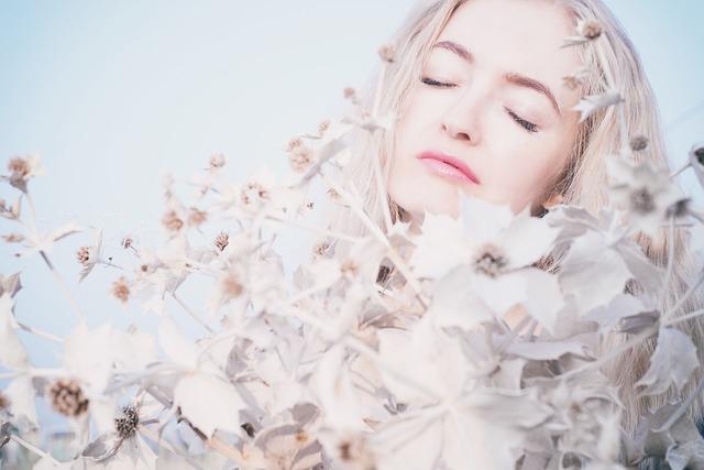 Girl, Portrait, Tenderness, Sky, Flowers, Person, Eyes