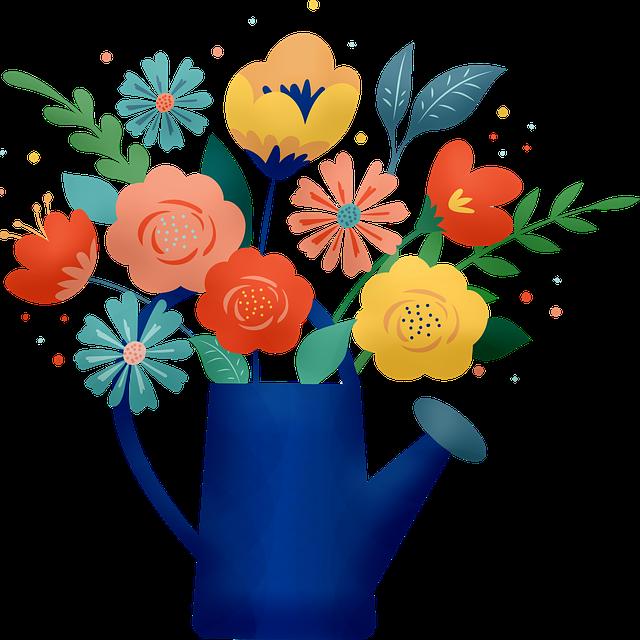 Flower Bouquet, Flowers, Watering Can, Flower Pot