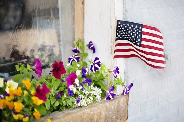 American Flag, Fourth Of July, Flowers, Flower Box