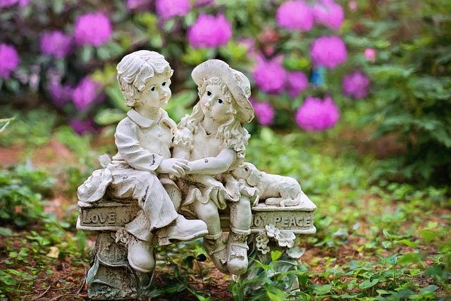 Garden, Gardening, Statue, Garden Statue, Flowers, Love