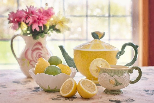 Tea With Lemon, Still-life, Tea Pot, Flowers In Pitcher
