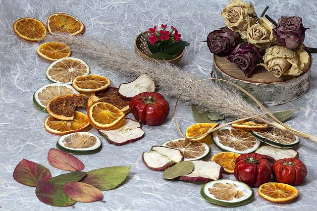Leaves, Flowers, Dried Flowers, Roses, Dried Fruit