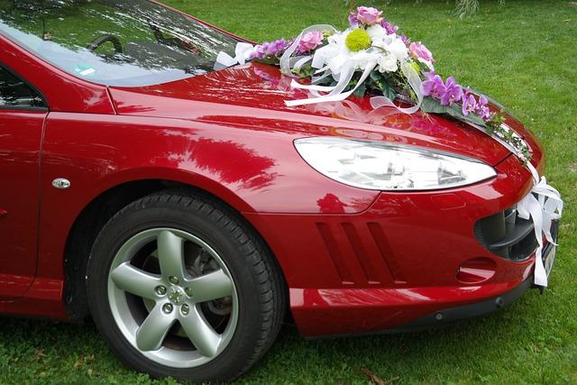 Bridal Car, Wedding, Limousine, Spotlight, Flowers