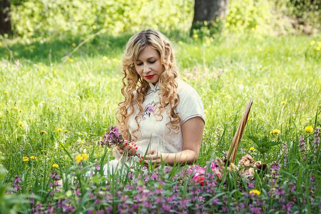 Glade, Flowers, Basket, Woman, Girl, Nature, Garden