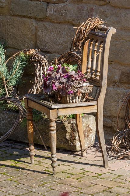 Chair, Flowers, Sit, Garden Furniture, Old Town