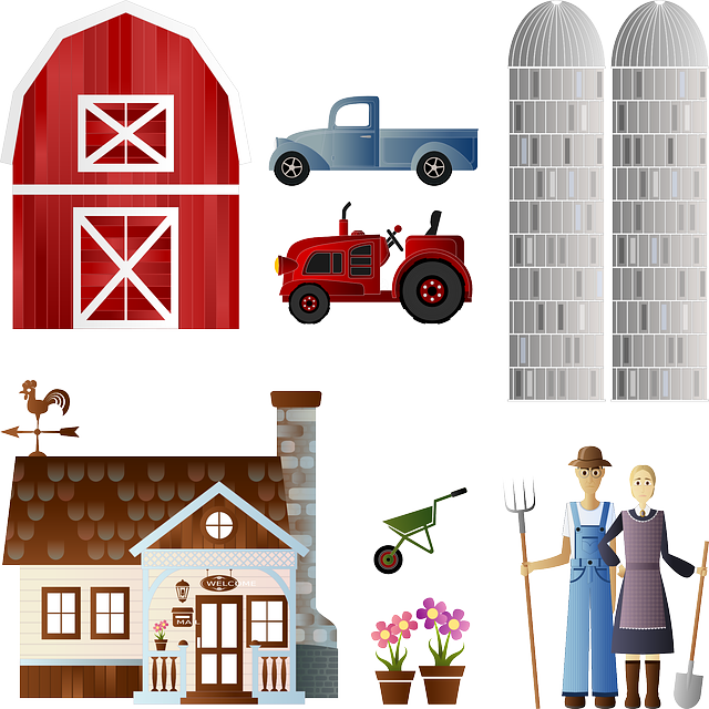 Barn, Flowers, Farm, Farmer, Pot, Silo, Spade, Tractor