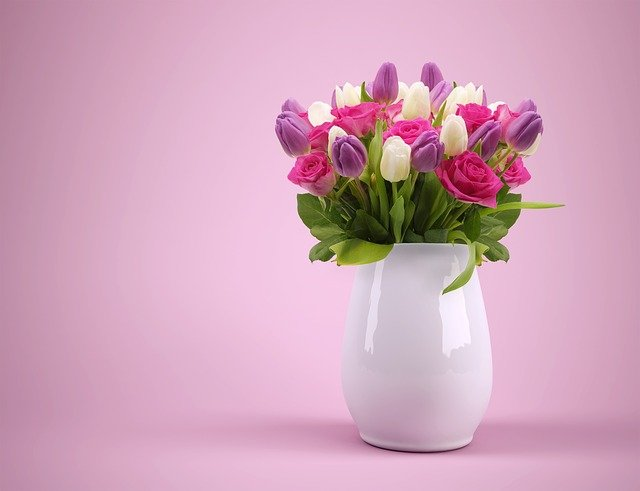 Bouquet, Vase, Flowers, Flowerpot, Tulips, Colorful