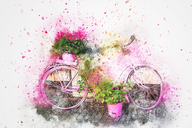 Free Photo Vintage Flowers Abstract Bicycle Watercolor Art