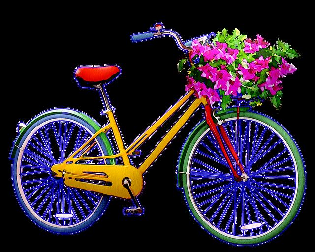 Watercolor Bicycle, Flowers, Watercolor, Artistic