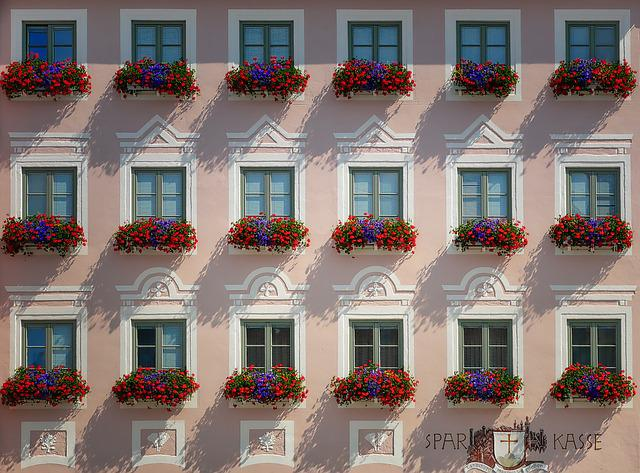 Home, Architecture, Window, Balcony, Flowers, Facade