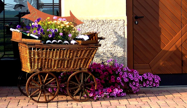 Alsace, Bottles, Wine, Cart, Wicker, Flowers