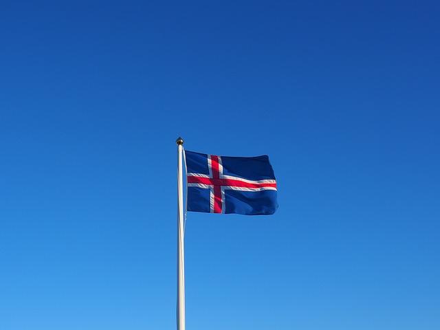 Flag, Iceland, Flutter, Blue, White, Red, Wind
