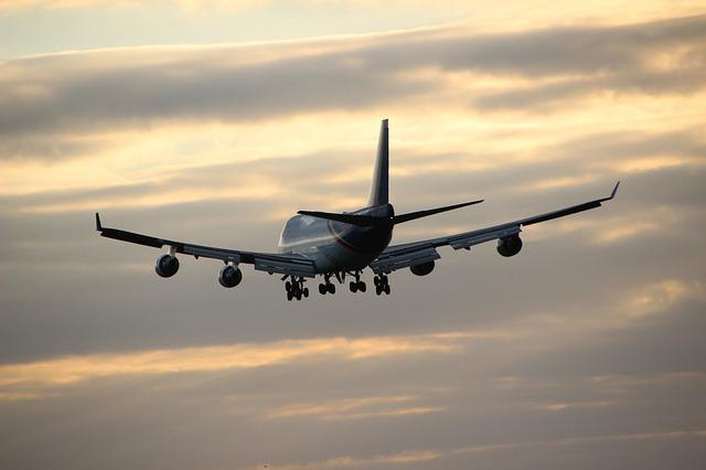 Airplane In The Evening Sky, Fly, Aircraft, Sunset