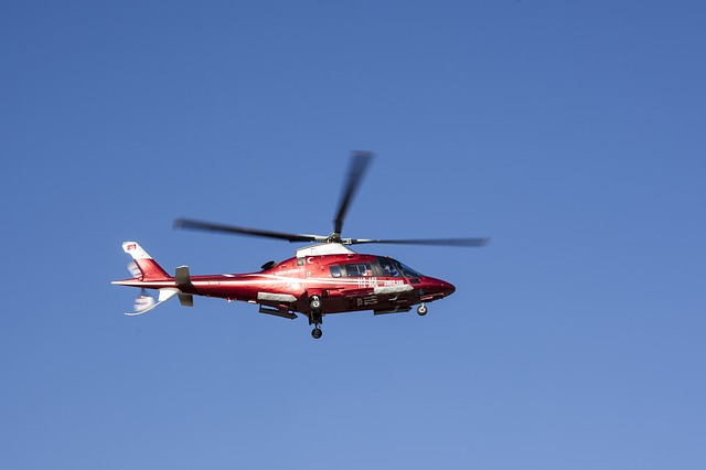 Helicopter, Fly, Propeller, Blue, High, Sky, Ambulance