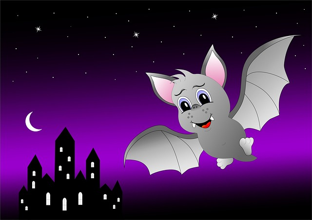 Bat, Castle, Night, Star, Moon, Halloween, Cartoon, Fly