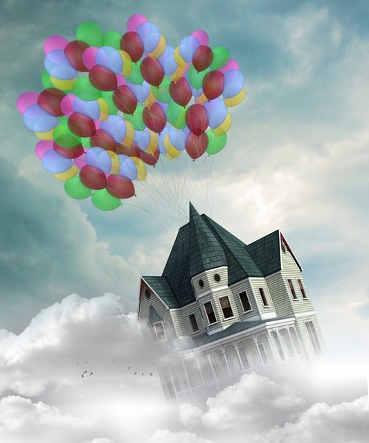 Home, Fly, Balloons, Dream, Clouds, Sky, Bird