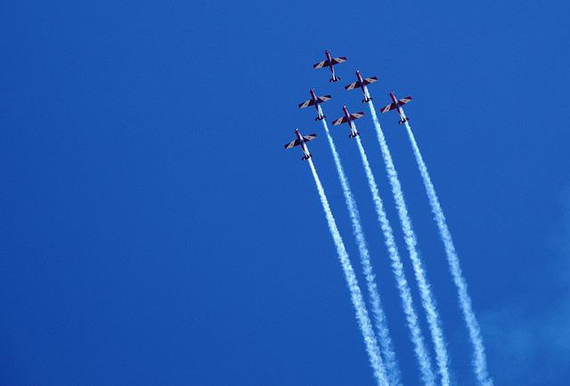 Aircraft, Fly, Formation, Sky, Flyer, Travel, Blue