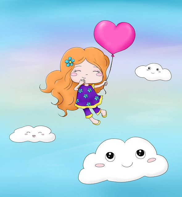 Girl, Cartoon, Happy, In Love, Clouds, Sky, Flying