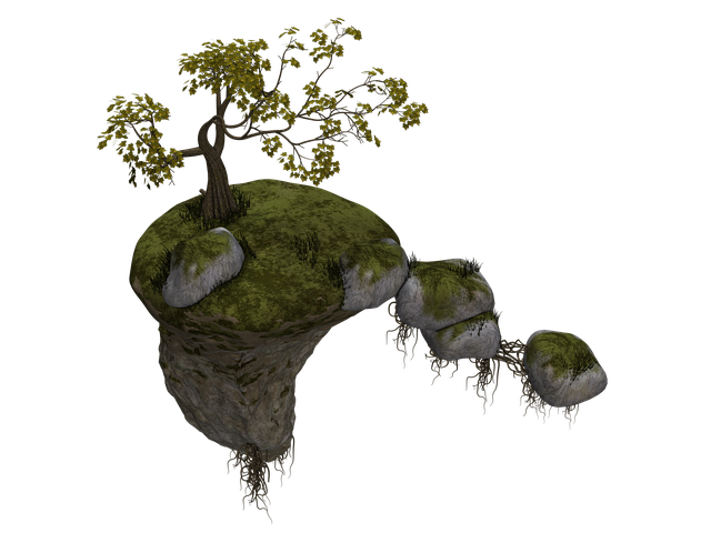 Island, Flying Island, Tree, Stones, Rock, Fantasy