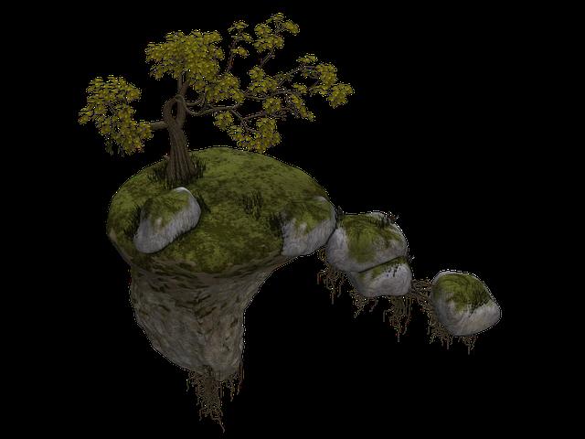 Island, Flying Island, Tree, Stones, Rock, Fantasy