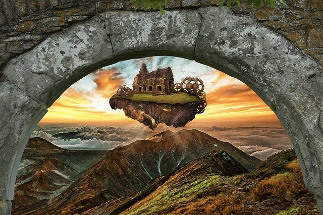 Castle, Flying Island, Flying Castle, Sky, Arch