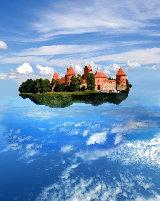 Castle, Flying, Sky, Magic, Mystical, Fantasy, Clouds