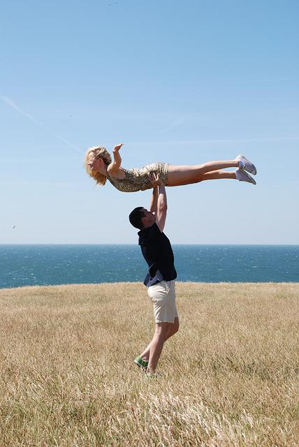 Akroyoga, Sea, Truck, Flying, Pose, Couple, Love