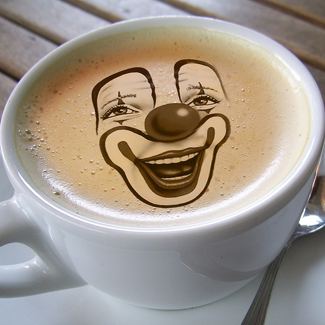 Cup, Coffee, Clown, Clown Face, Face, Circus, Foam