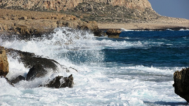 Wave, Smashing, Foam, Spray, Sea, Landscape, Cyprus