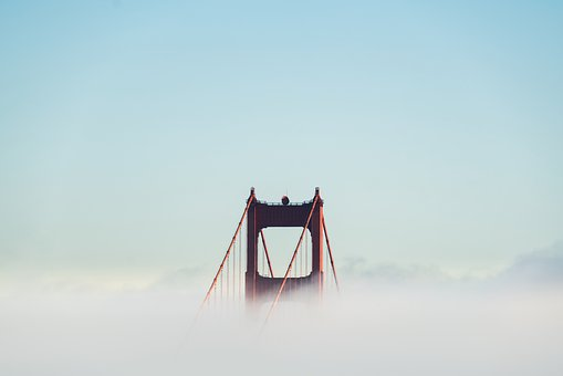 Fog, Golden Gate Bridge, Bay Area, Suspension Bridge