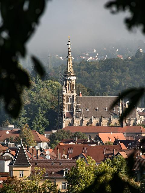 Frauenkirche, Esslingen, Fog, Haze, Distant View